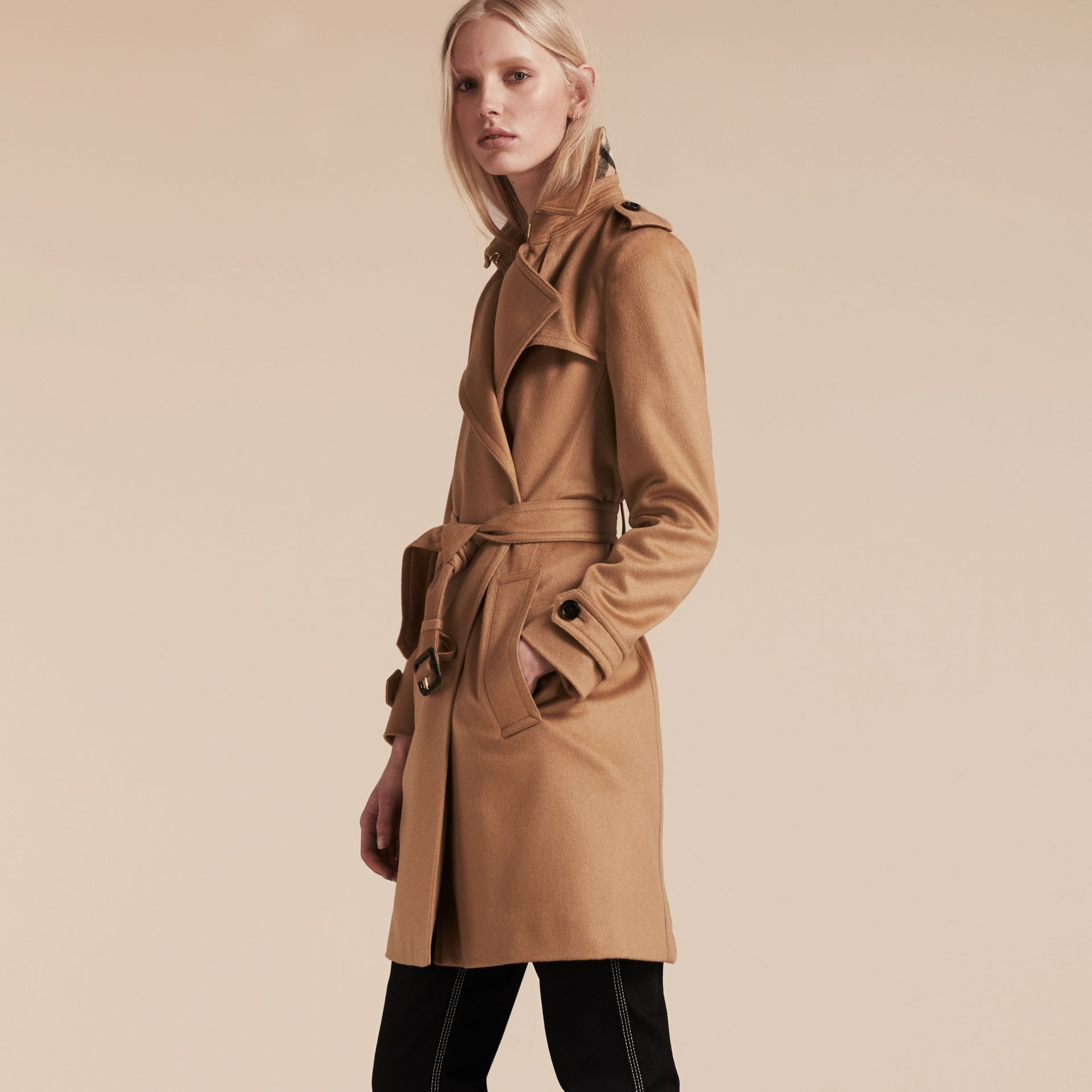 Camel Cashmere Wrap Trench Coat Camel - gallery image 1