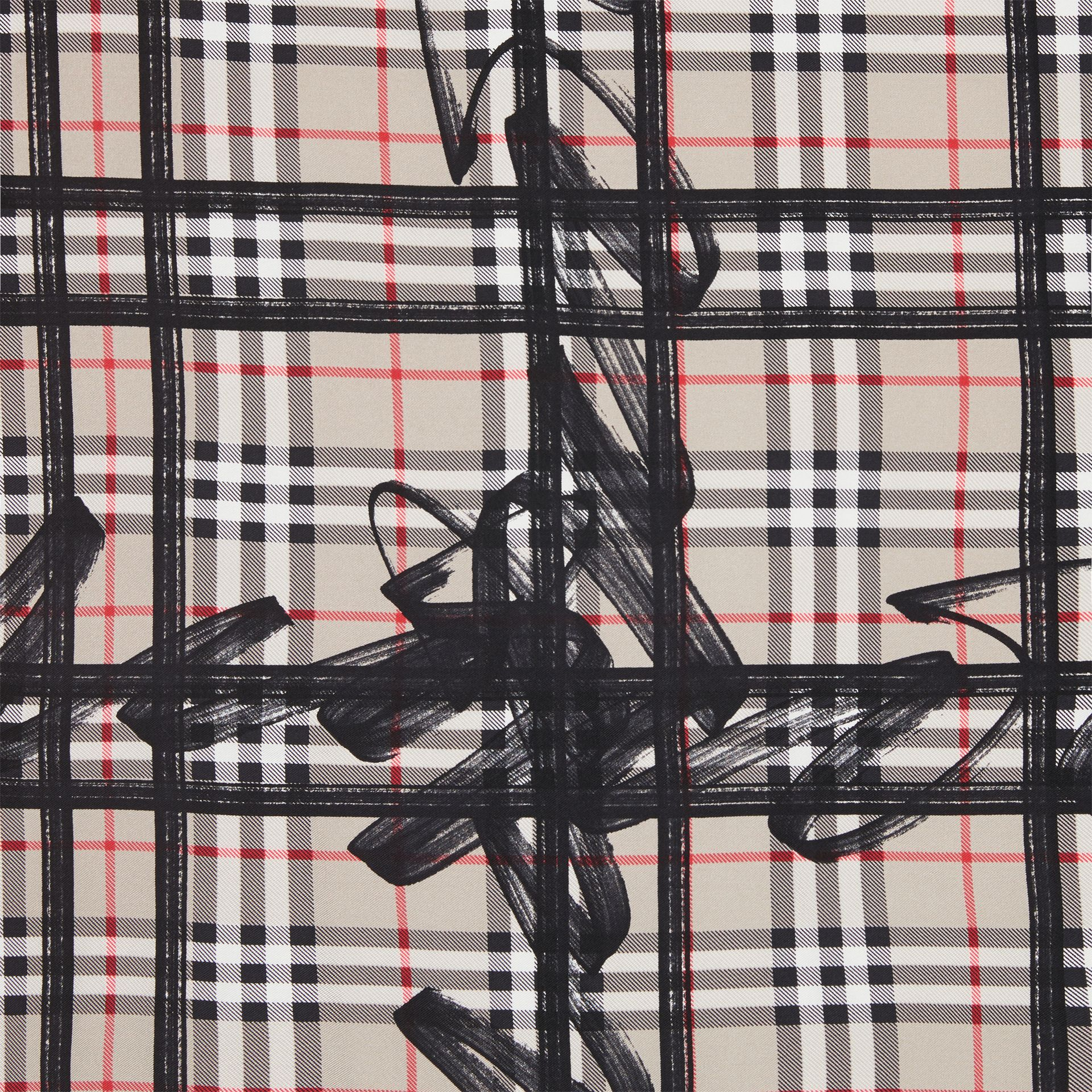 Scribble Check Silk Square Scarf in Stone | Burberry Singapore - gallery image 1