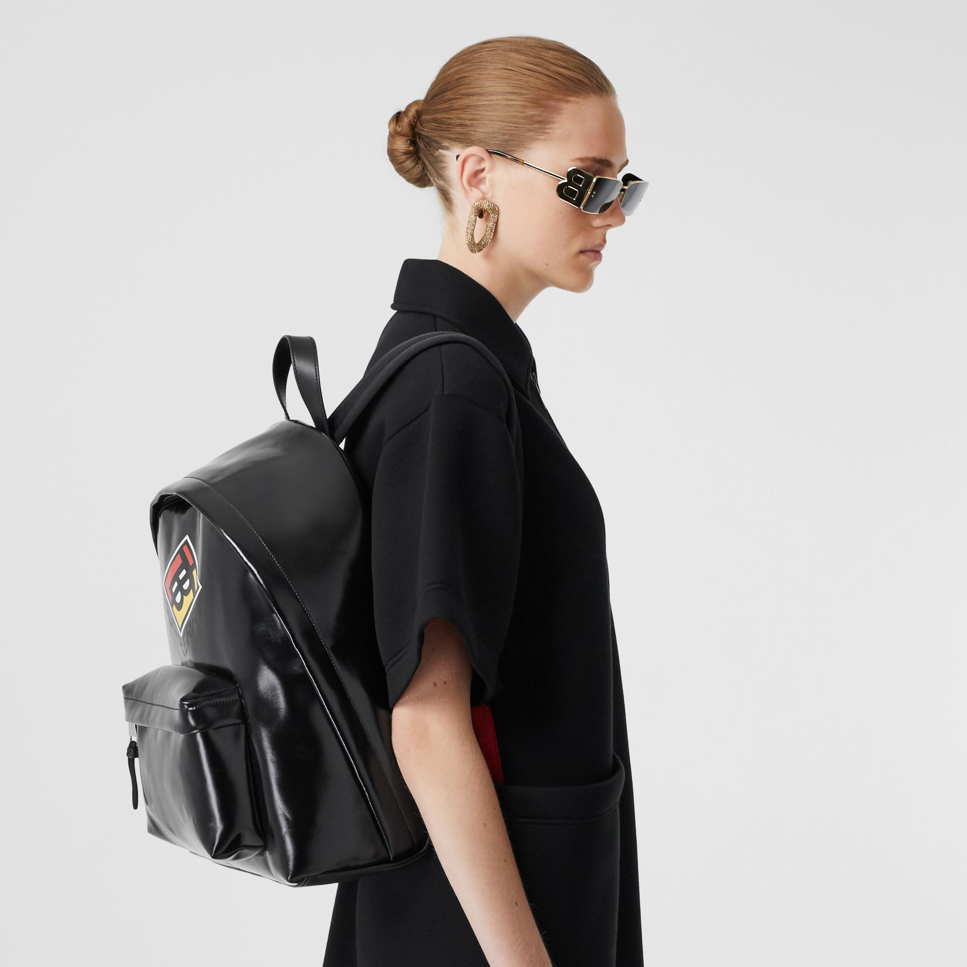 Logo Graphic Coated Canvas Backpack in Black | Burberry - gallery image 2
