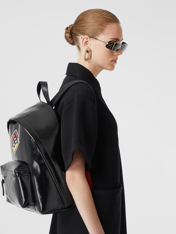 Logo Graphic Coated Canvas Backpack in Black | Burberry - cell image 2