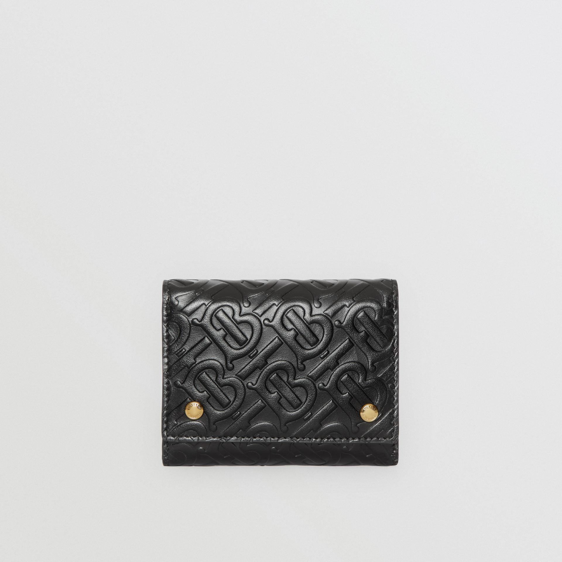 Small Monogram Leather Folding Wallet in Black | Burberry - gallery image 0