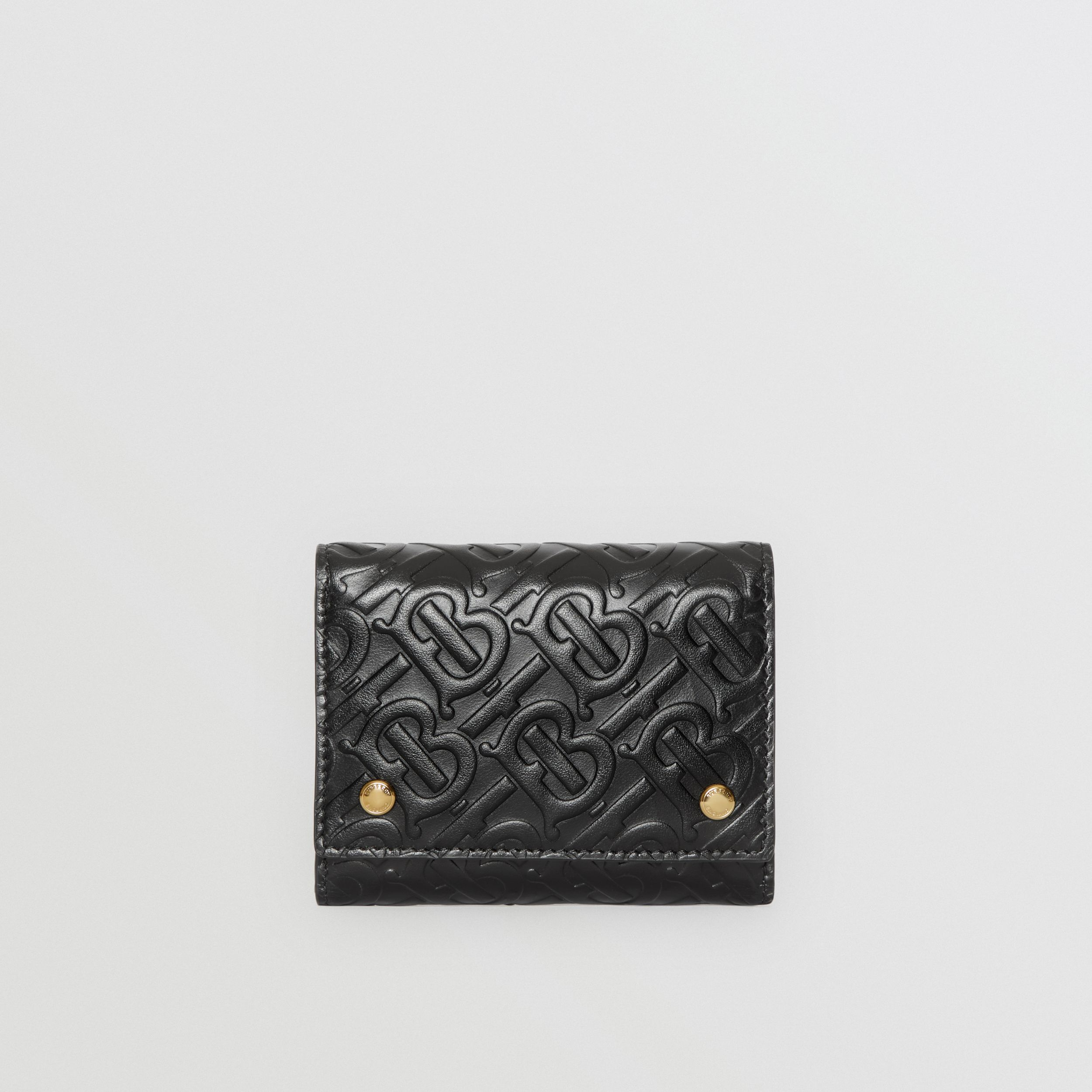 Small Monogram Leather Folding Wallet in Black - Men | Burberry - 1