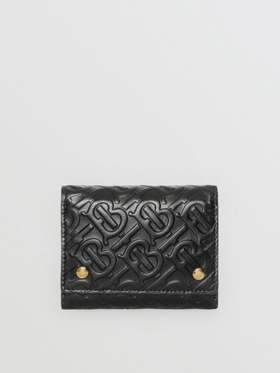 Small Monogram Leather Folding Wallet in Black
