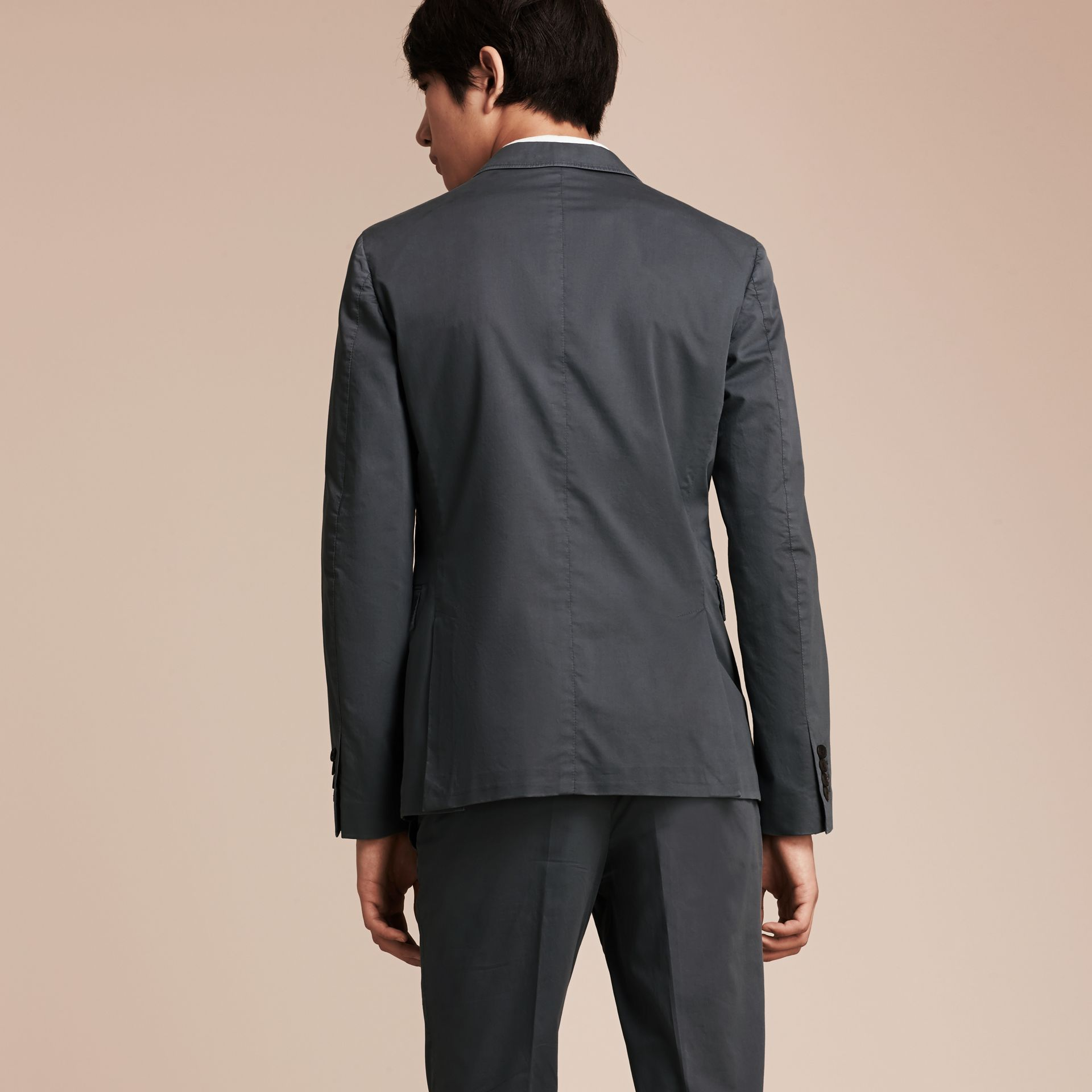Mid grey Slim Fit Stretch-cotton Blazer Mid Grey - gallery image 3