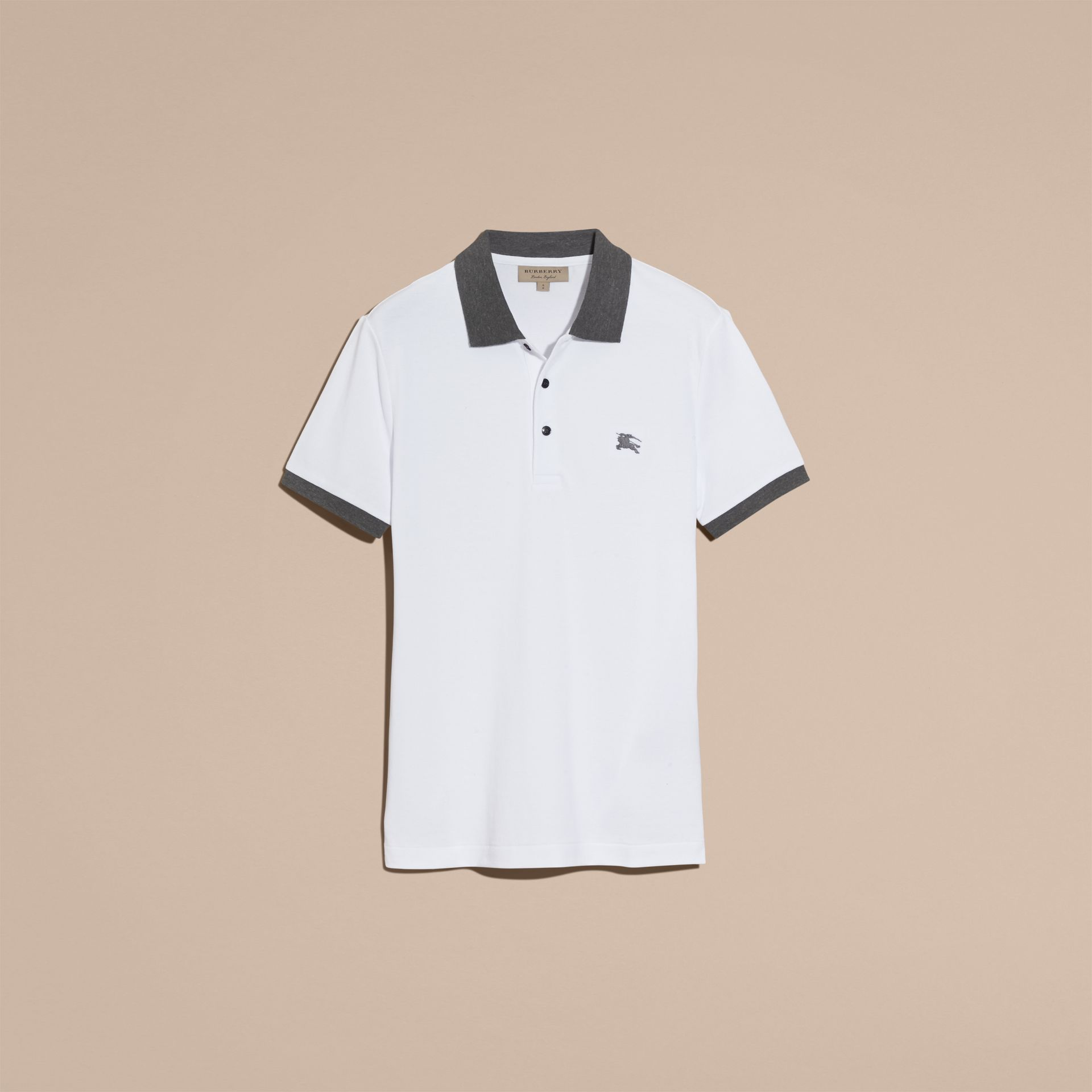 Contrast Colour Detail Cotton Piqué Polo Shirt in White - gallery image 4