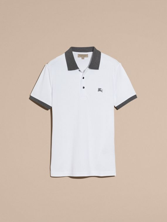 Contrast Colour Detail Cotton Piqué Polo Shirt in White - cell image 3