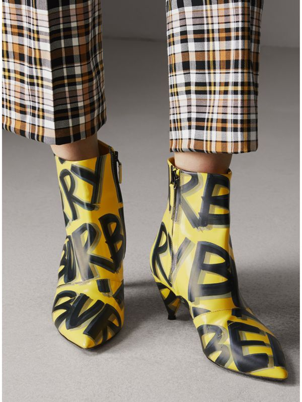 Graffiti Print Leather Ankle Boots in Vibrant Yellow - Women | Burberry - cell image 2