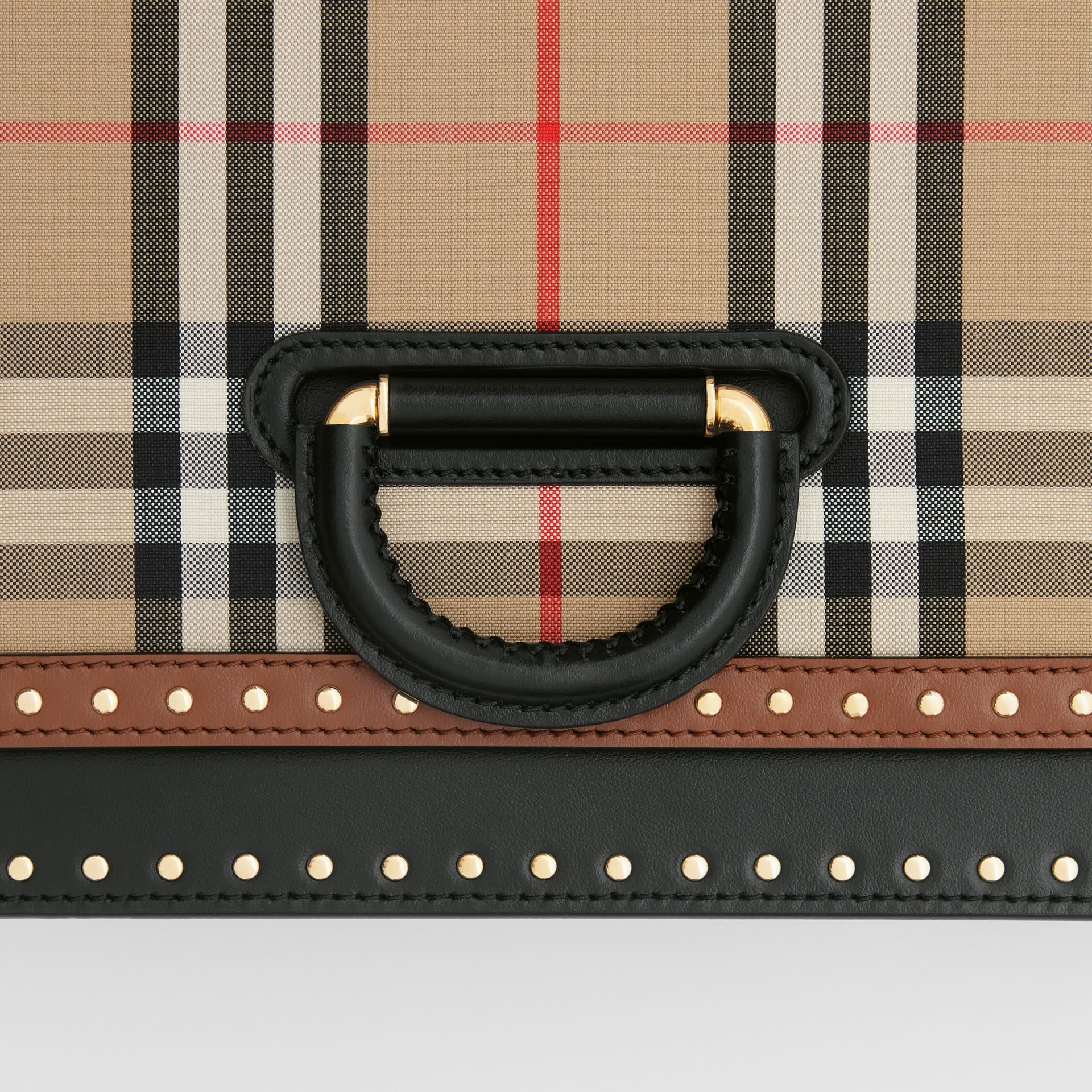 The Medium Leather and Vintage Check D-ring Bag in Archive Beige - Women | Burberry United States - gallery image 1