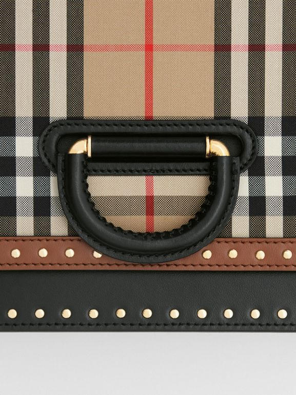 The Medium Leather and Vintage Check D-ring Bag in Archive Beige - Women | Burberry United States - cell image 1