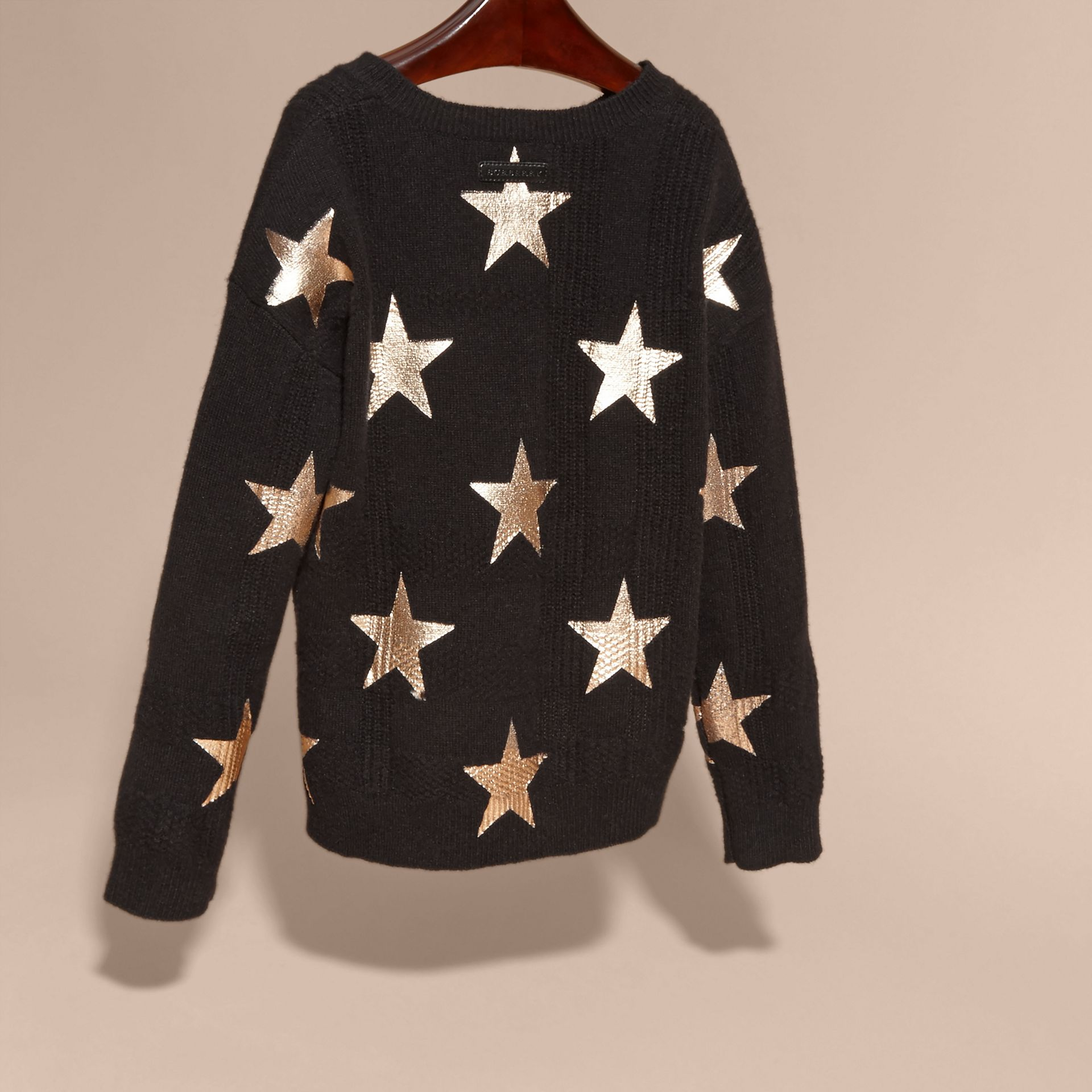 Black Star Print Textured Check Cashmere Sweater - gallery image 4