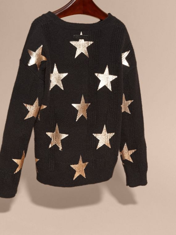 Black Star Print Textured Check Cashmere Sweater - cell image 3