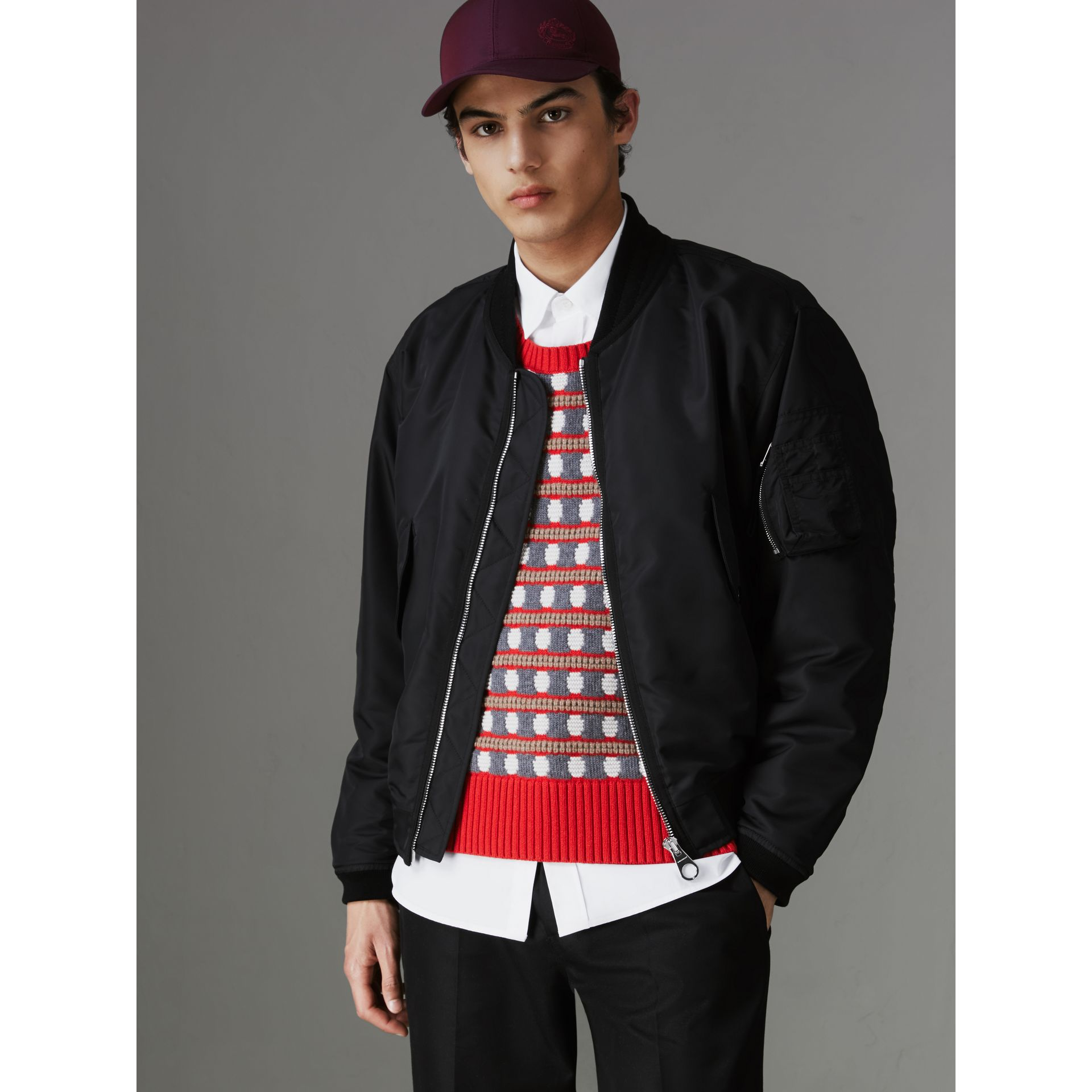 Nylon Bomber Jacket in Black - Men | Burberry - gallery image 4