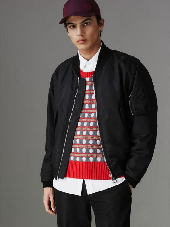 Nylon Bomber Jacket in Black