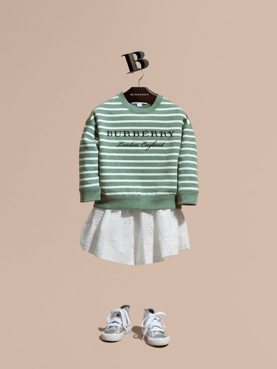 Striped Cotton Sweatshirt in Pale Opal Melange - Girl | Burberry Singapore