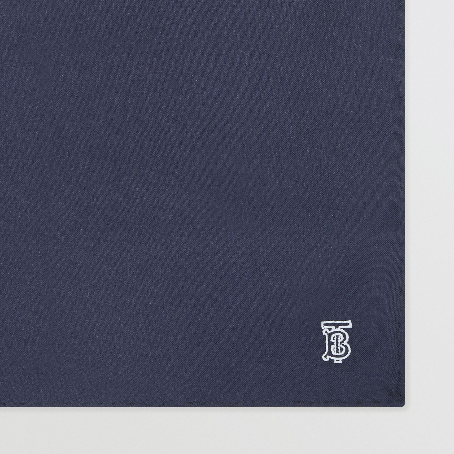 Monogram Motif Silk Pocket Square in Navy Blue - Men | Burberry - gallery image 1