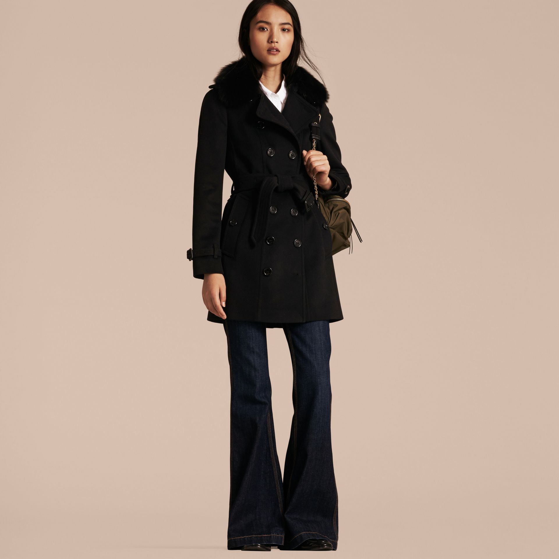 Wool Cashmere Trench Coat with Fur Collar in Black - Women | Burberry Australia - gallery image 1