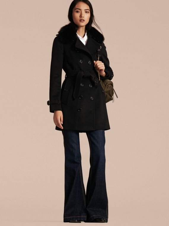 Wool Cashmere Trench Coat with Fur Collar Black