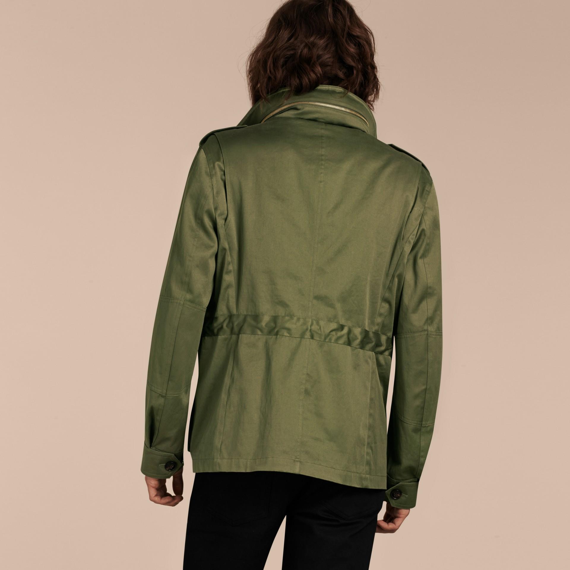 Verde oliva Jaqueta estilo militar de algodão com capuz - galeria de imagens 3