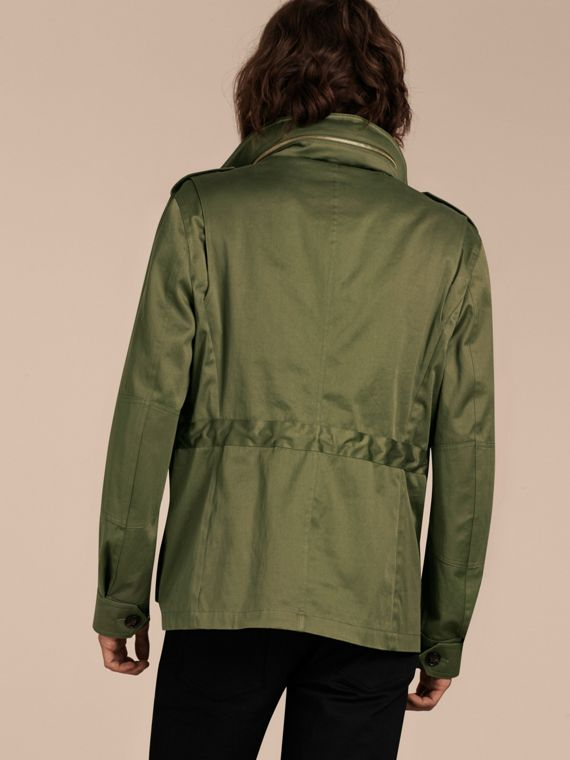 Olive Hooded Cotton Field Jacket - cell image 2