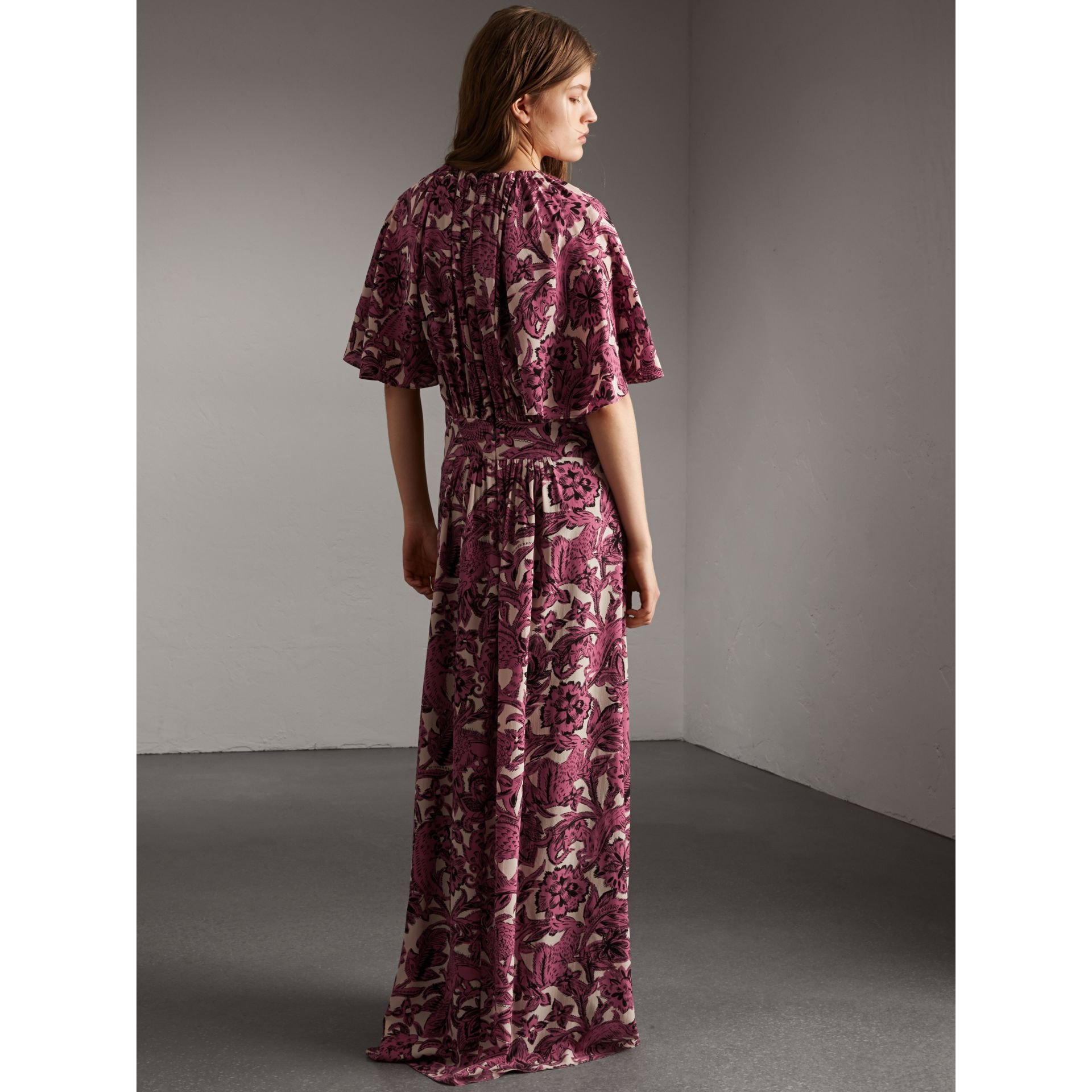 Beasts Print Deep V-neck Silk Longline Dress in Pink Azalea - Women | Burberry - gallery image 3