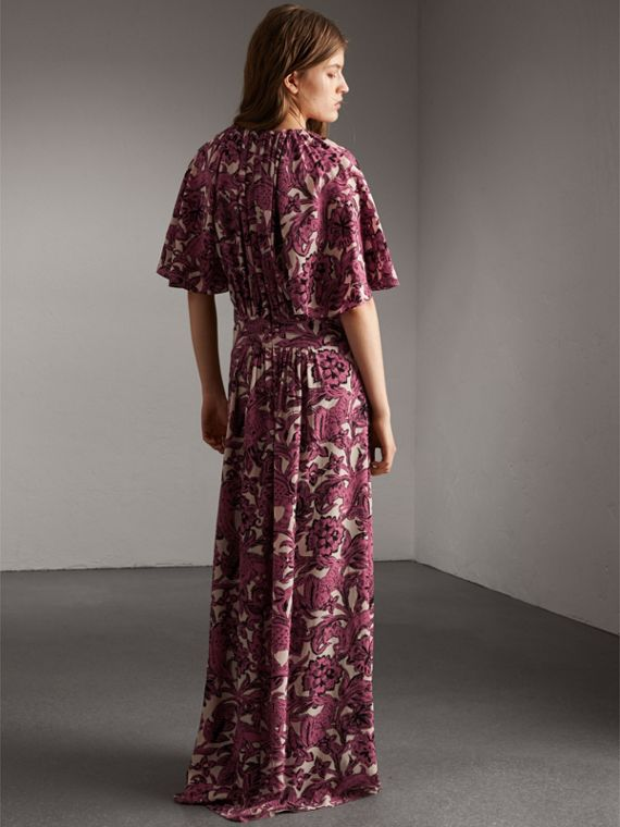 Beasts Print Deep V-neck Silk Longline Dress in Pink Azalea - Women | Burberry - cell image 2