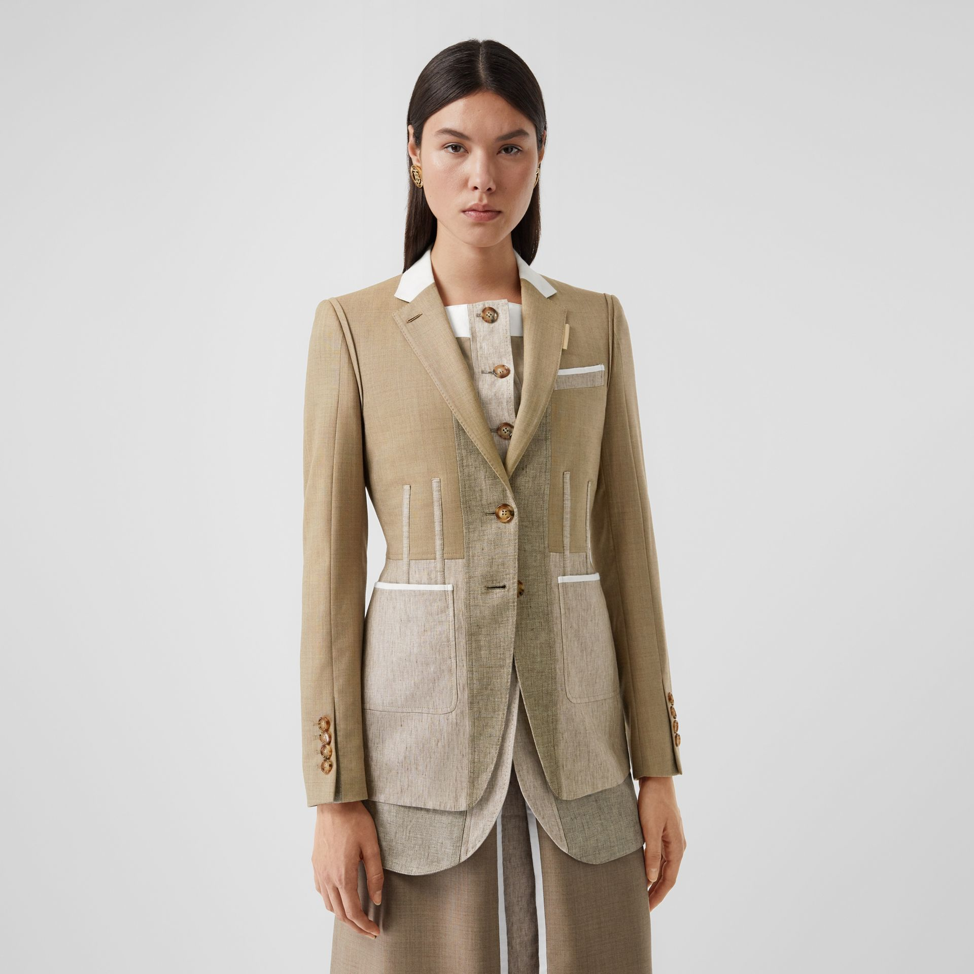 Contrast Seam Wool Cashmere and Linen Blazer in Pecan Melange - Women | Burberry - gallery image 4