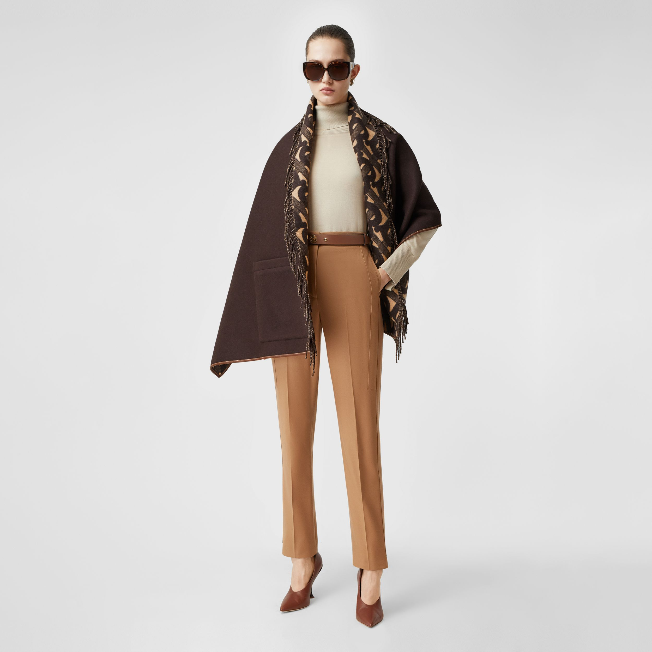 Monogram Merino Wool Cashmere Jacquard Cape in Deep Brown - Women | Burberry - 1