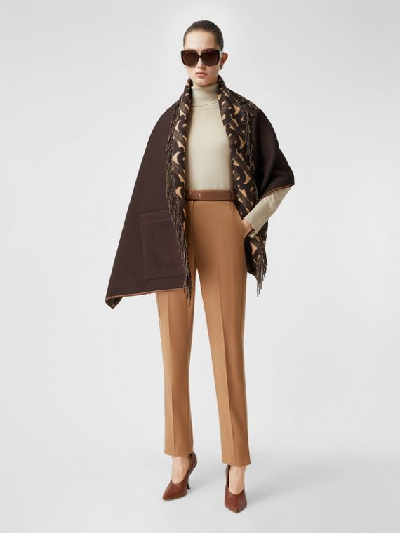 Monogram Merino Wool Cashmere Jacquard Cape in Deep Brown