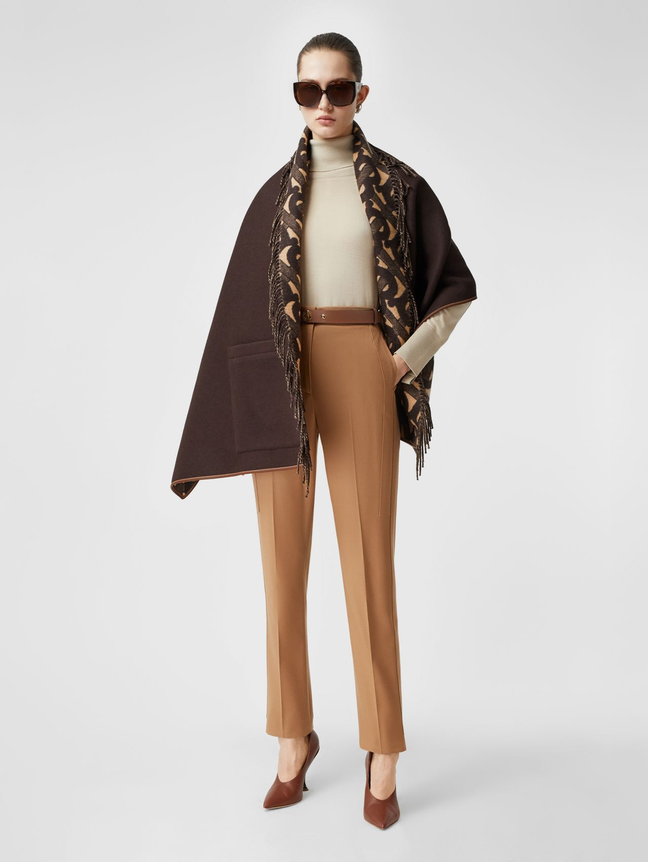 Monogram Merino Wool Cashmere Jacquard Cape in Deep Brown