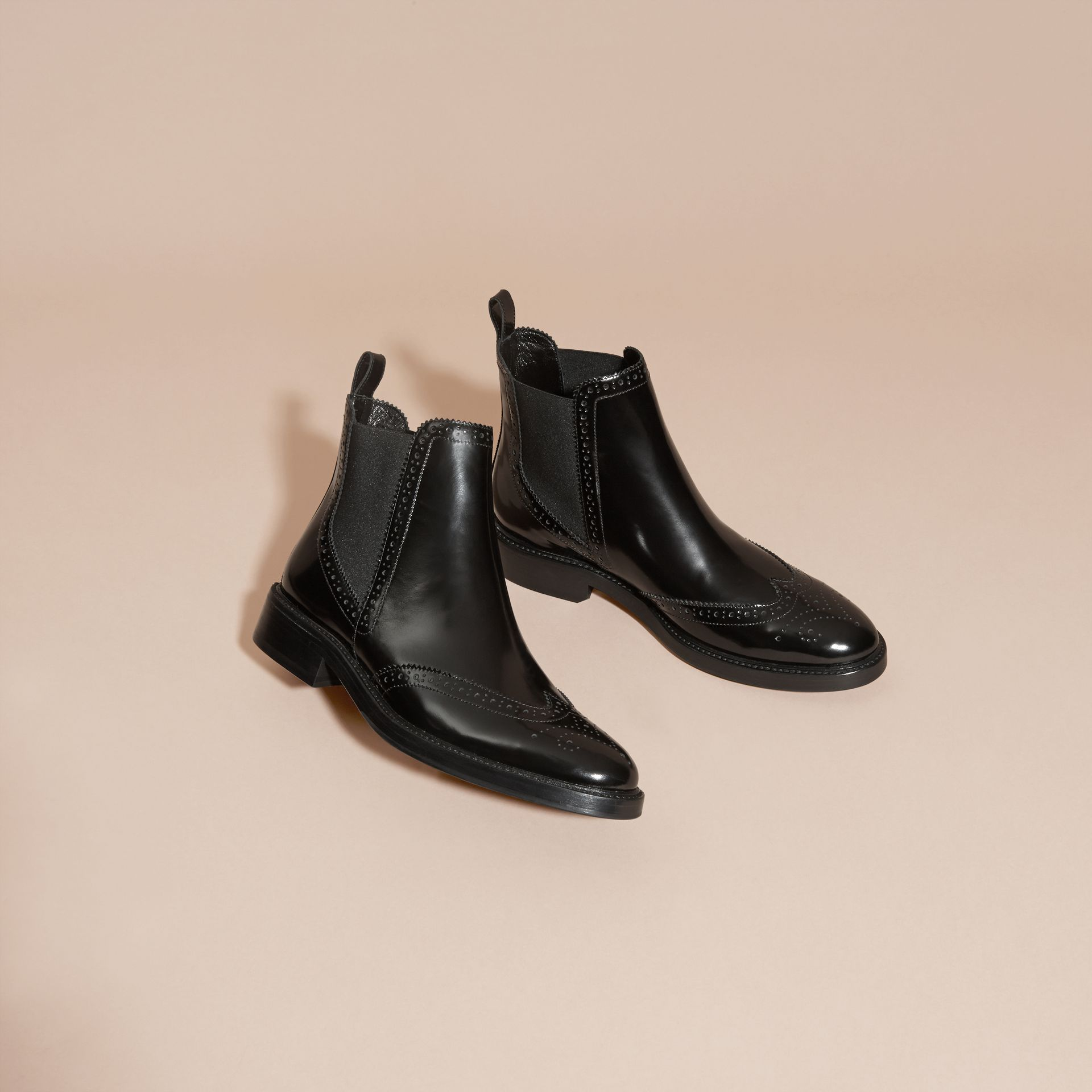 Black Leather Wingtip Chelsea Boots - gallery image 4