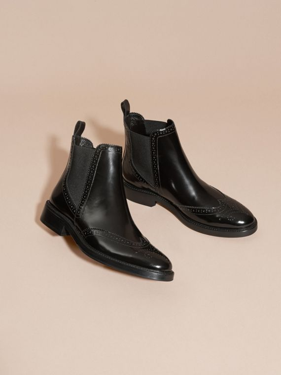 Leather Wingtip Chelsea Boots in Black - Women | Burberry - cell image 3