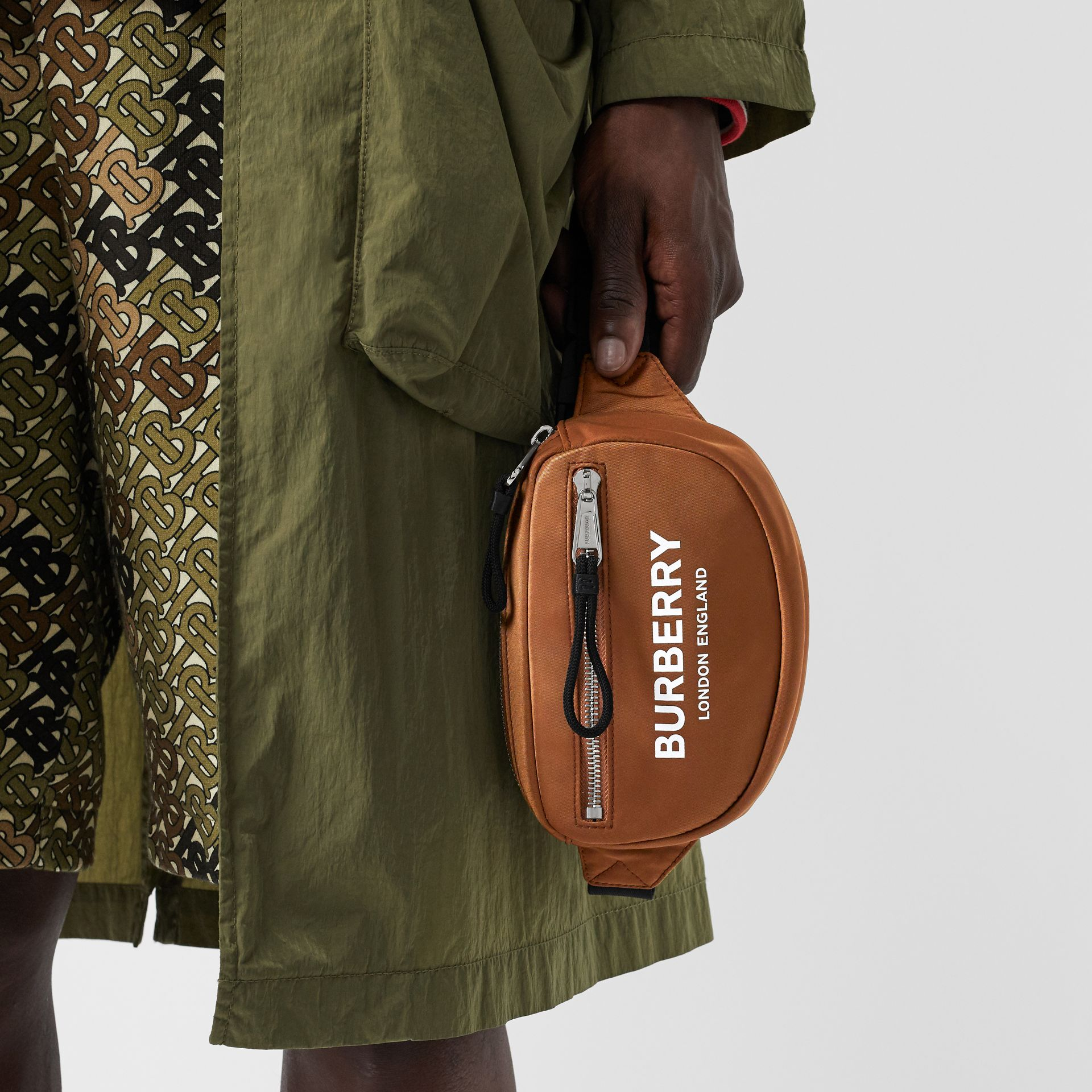Mini Logo Print Bum Bag in Dark Camel | Burberry - gallery image 2
