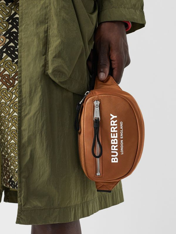 Mini Logo Print Bum Bag in Dark Camel | Burberry Canada - cell image 2