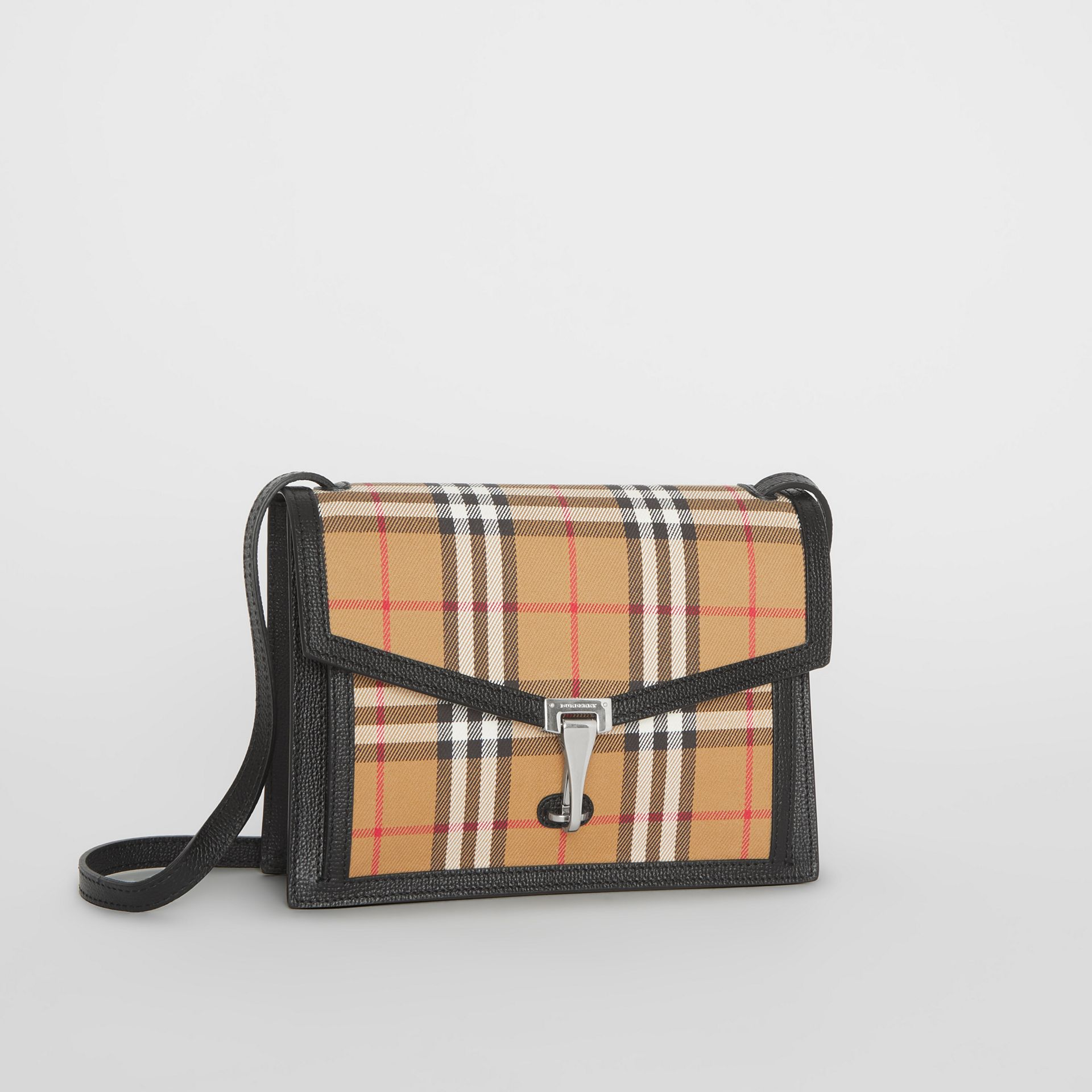 Small Vintage Check and Leather Crossbody Bag in Black - Women | Burberry United Kingdom - gallery image 6