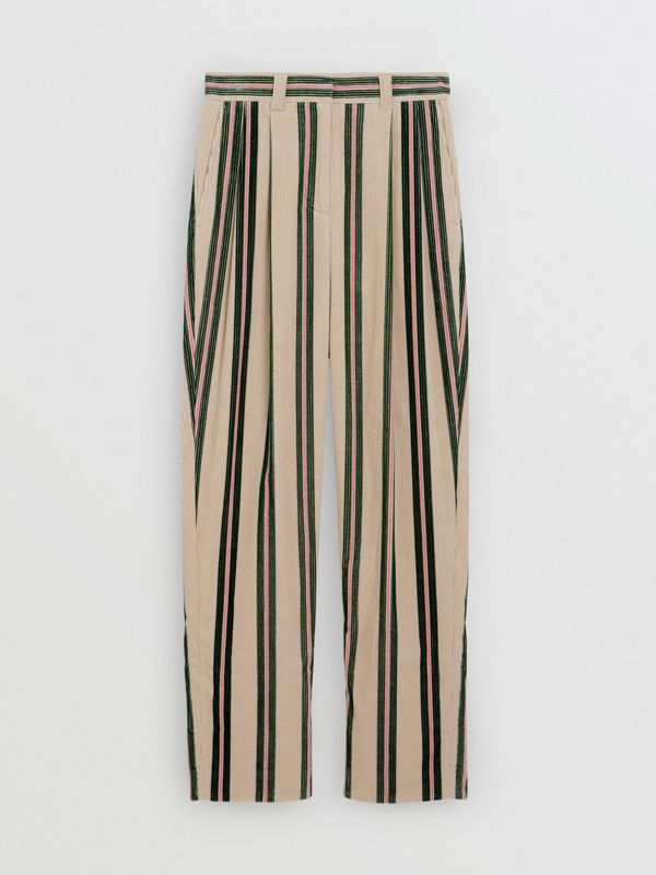 Roll-up Cuff Striped Corduroy Trousers in Stone - Women | Burberry United Kingdom - cell image 3