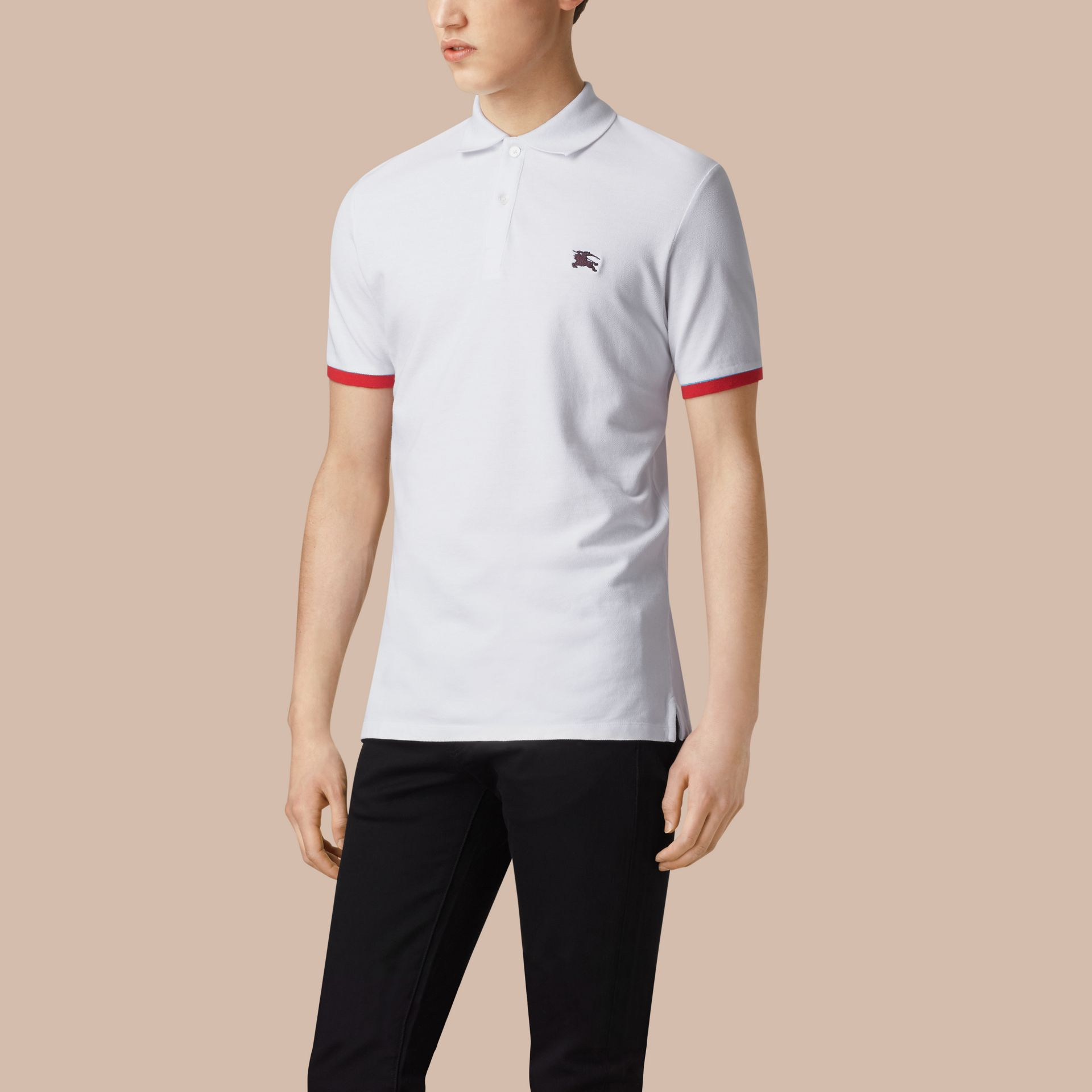 White Contrast Cuff Cotton Piqué Polo Shirt White - gallery image 1