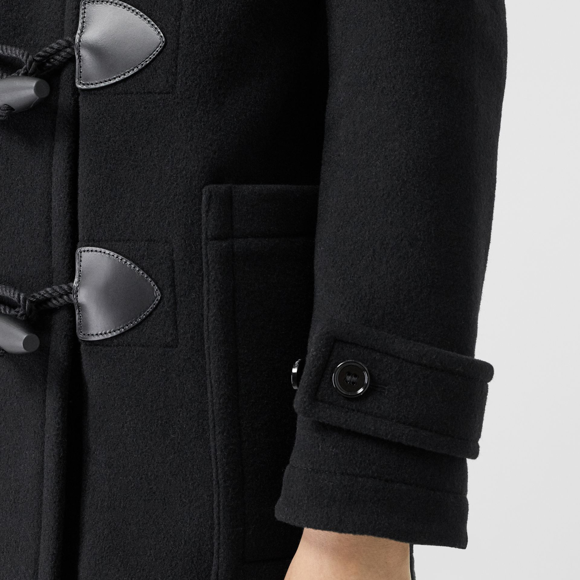 Wool Cashmere Blend Duffle Coat in Black - Women | Burberry - gallery image 4