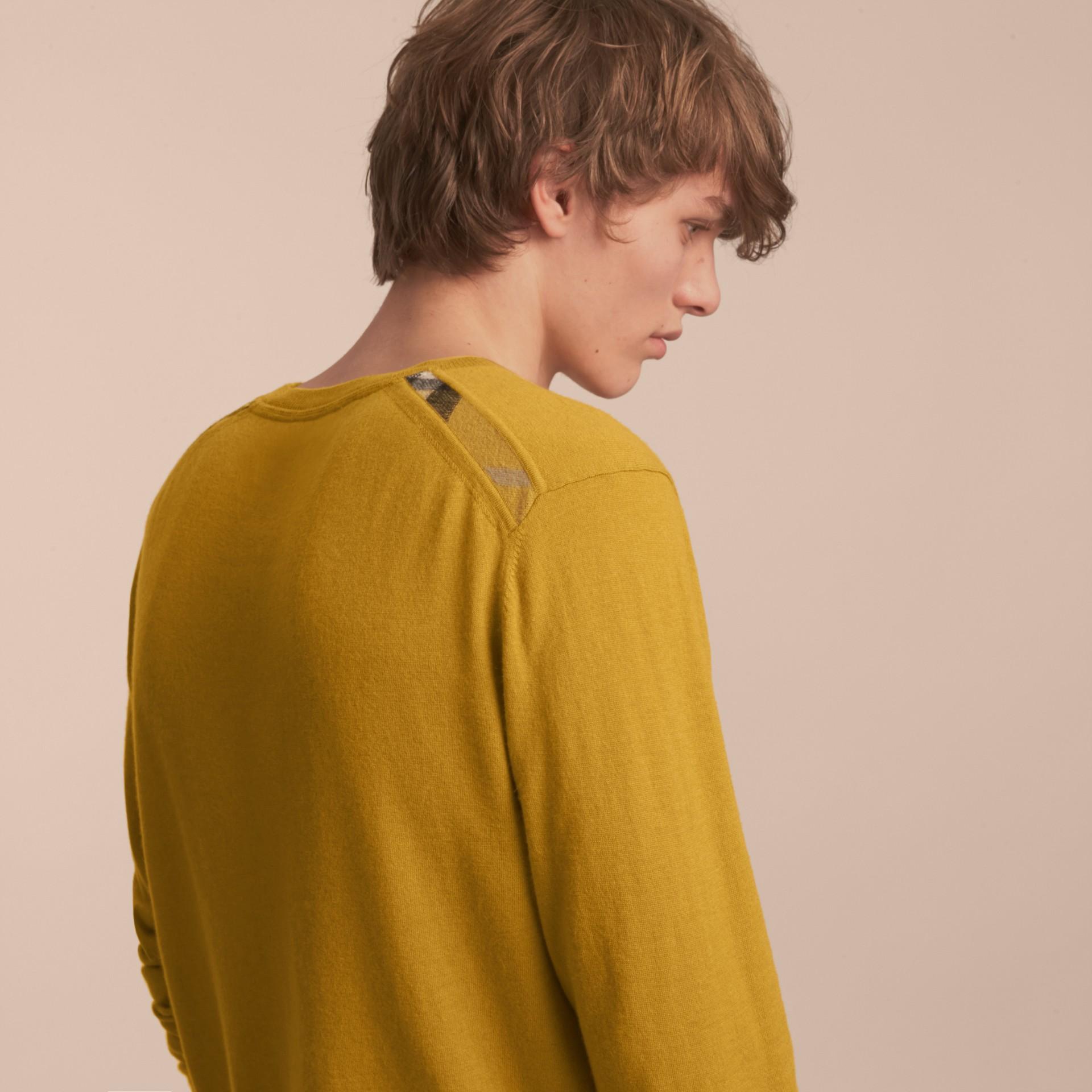 Lightweight Crew Neck Cashmere Sweater with Check Trim Cornflower Yellow - gallery image 3