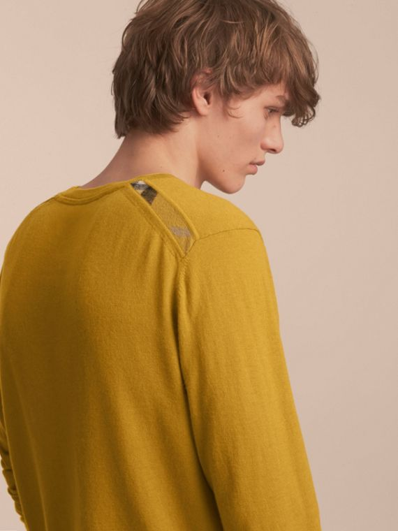 Lightweight Crew Neck Cashmere Sweater with Check Trim Cornflower Yellow - cell image 2