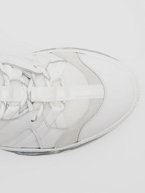 Nylon and Leather Union Sneakers in Optic White - Men | Burberry United Kingdom - cell image 1