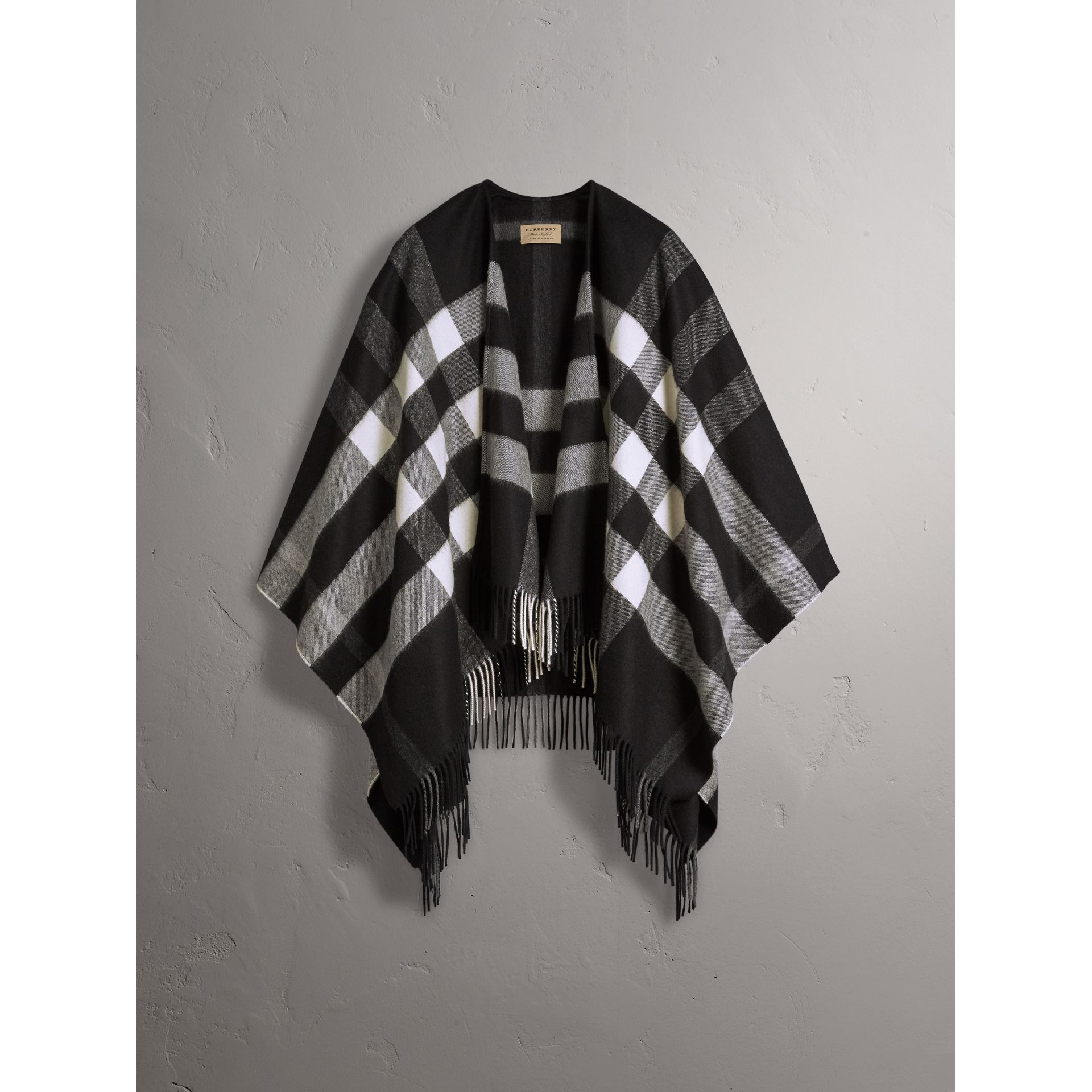 Check Cashmere and Wool Poncho in Black - Women | Burberry Australia - gallery image 4