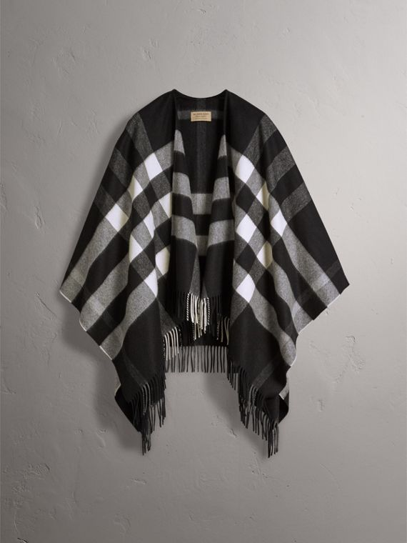 Check Cashmere and Wool Poncho in Black - Women | Burberry - cell image 3