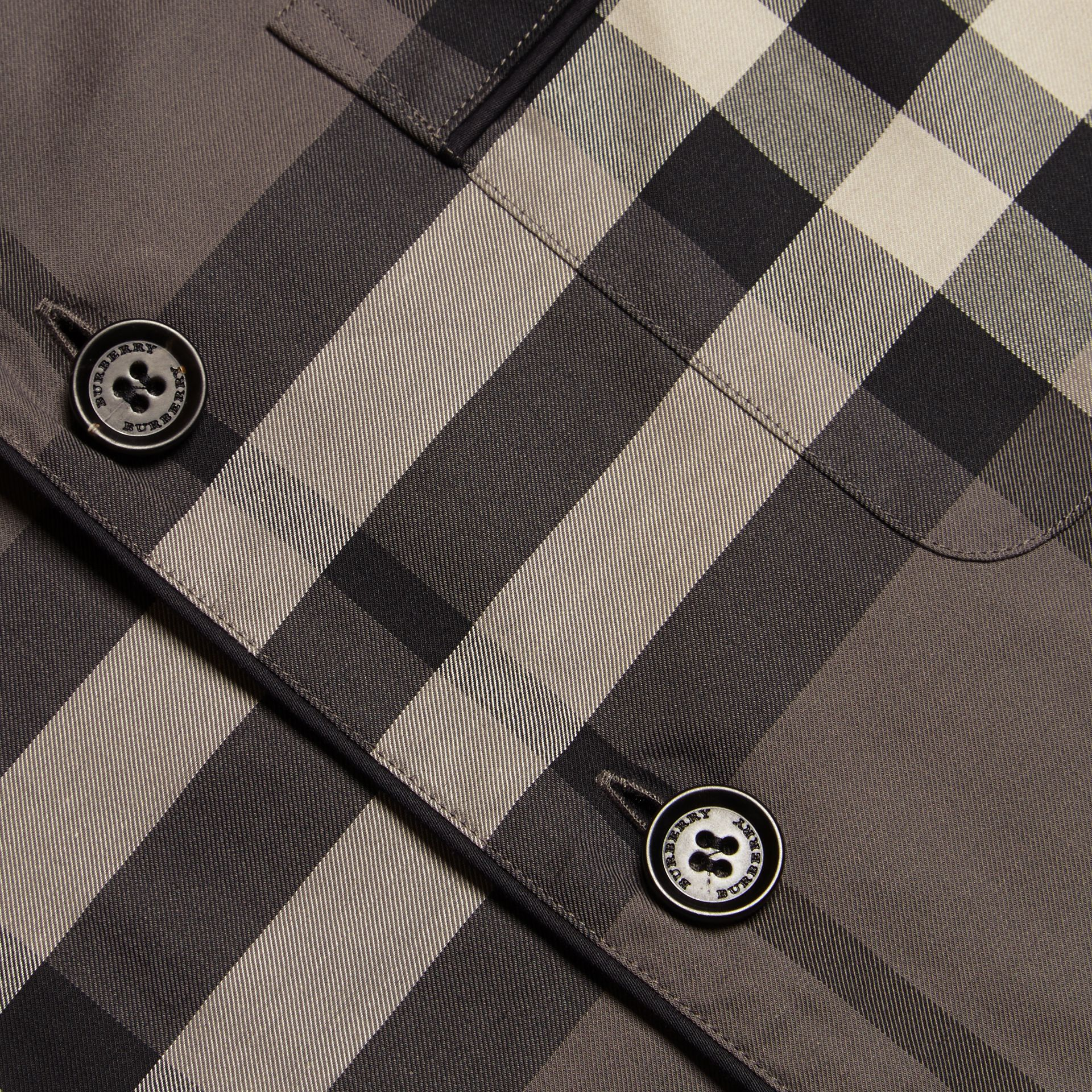 Charcoal Short-sleeved Check Cotton Pyjama-style Shirt - gallery image 2