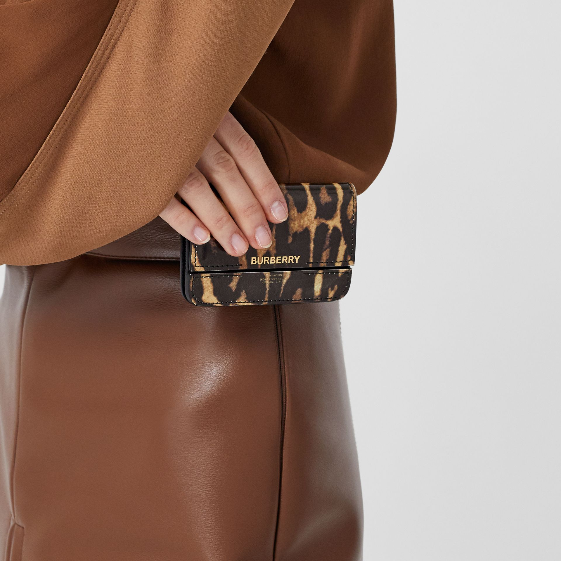 Leopard Print Leather Card Case with Chain Strap in Dark Mustard - Women | Burberry United States - gallery image 2