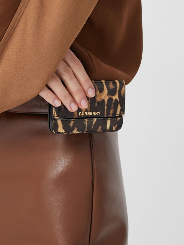 Leopard Print Leather Card Case with Chain Strap in Dark Mustard - Women | Burberry - cell image 2