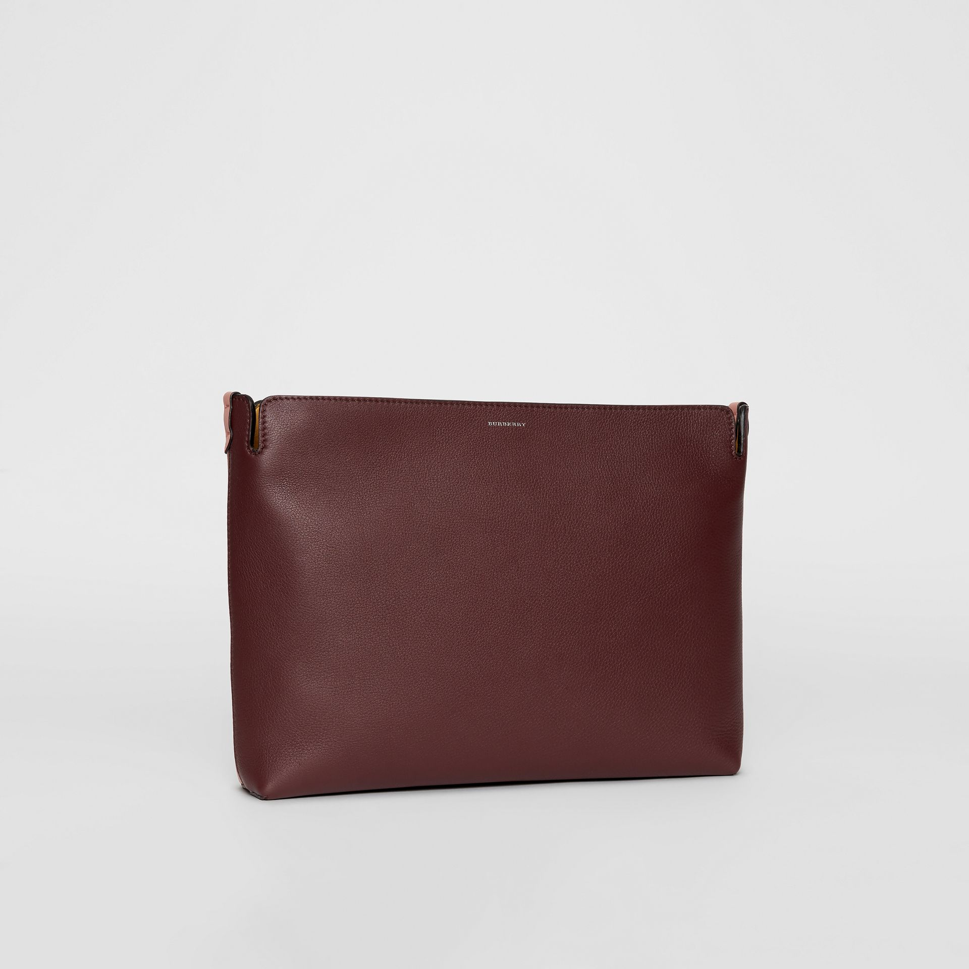 Large Tri-tone Leather Clutch in Deep Claret/dusty Rose - Women | Burberry United States - gallery image 4