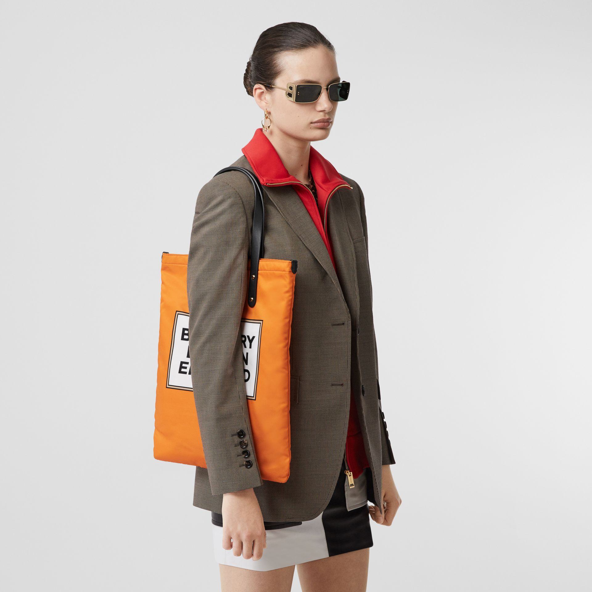 Logo Print Nylon Tote Bag in Orange | Burberry - gallery image 2