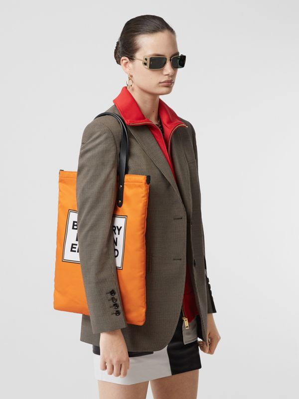 Logo Print Nylon Tote Bag in Orange | Burberry United States - cell image 2
