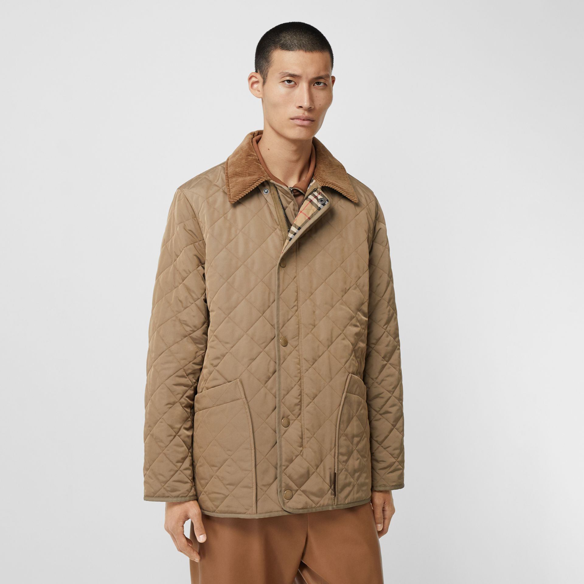 Diamond Quilted Thermoregulated Barn Jacket in Pale Granite - Men | Burberry - gallery image 6