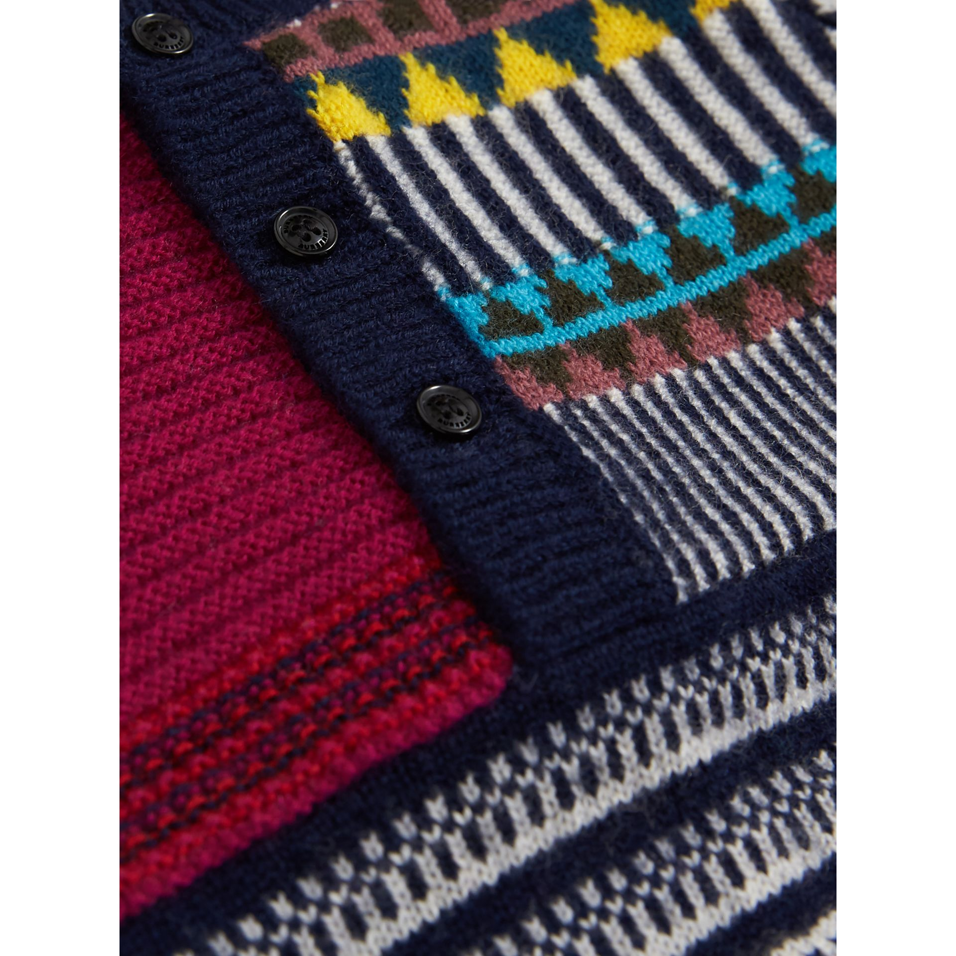 Patchwork Wool Cashmere Three-piece Baby Gift Set in Red/navy | Burberry - gallery image 1